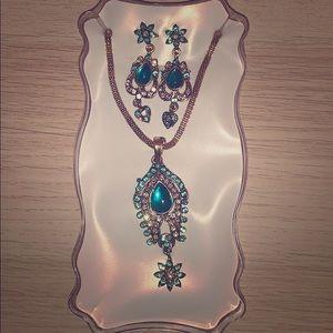 Jewelry - Breathless sky blue necklace&earrings; never worn